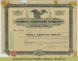 Grinnell Aeroplane Company stock certificate